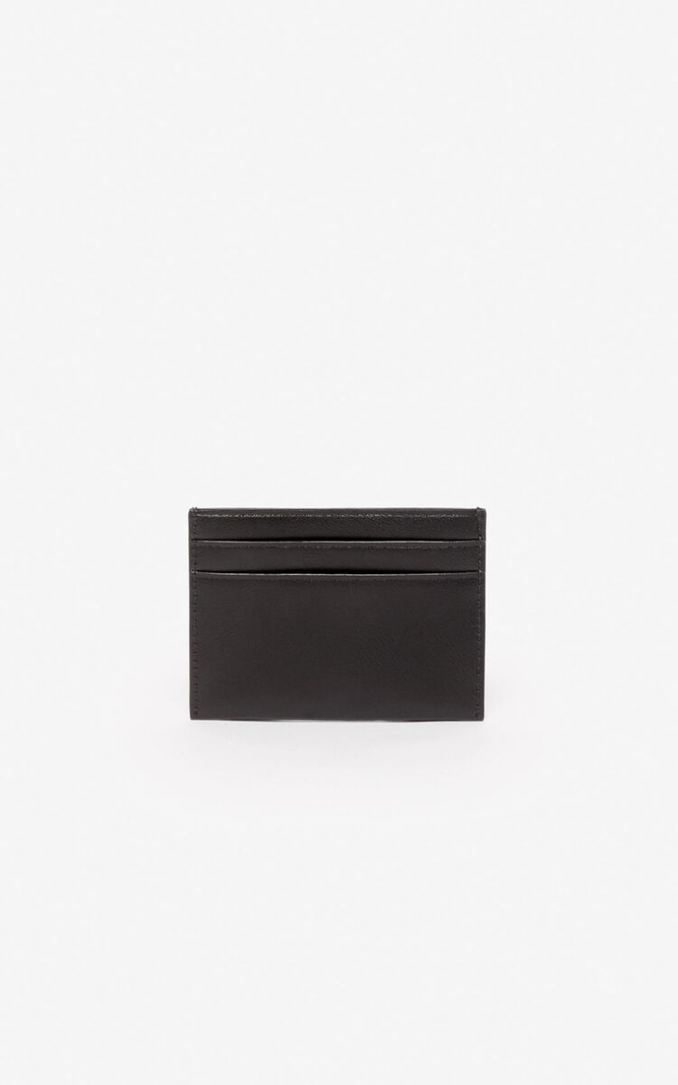 BLACK 'Lucky Tiger' leather cardholder for men KENZO