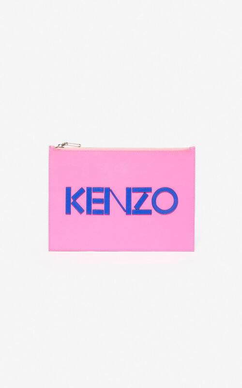 DEEP FUSCHIA A4 KENZO Colorblock leather clutch for unisex