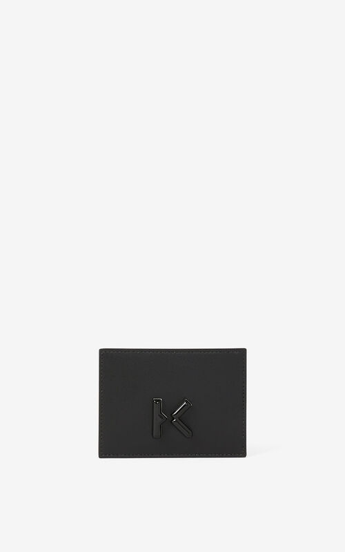 BLACK KENZO K leather card holder for men