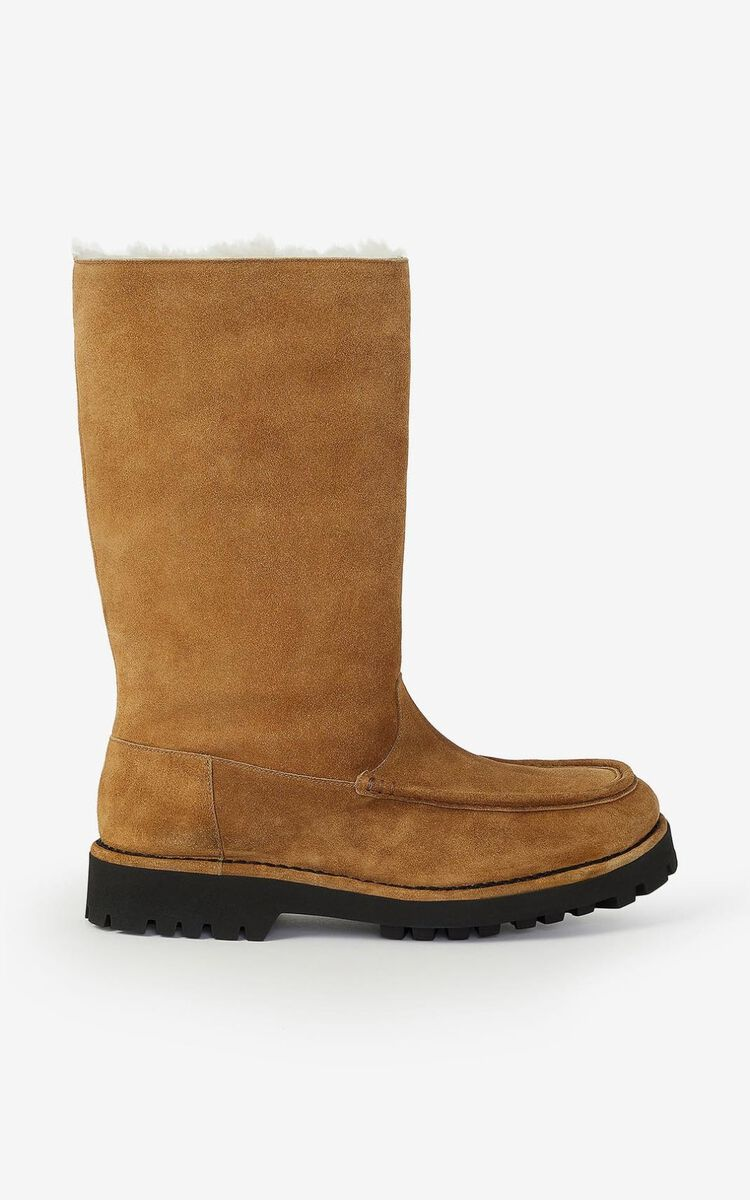 DARK CAMEL K-Mount shearling lined high top suede boots for unisex KENZO