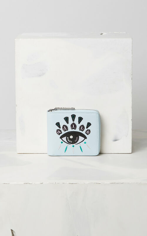 SKY BLUE Leather Eye wallet for unisex KENZO
