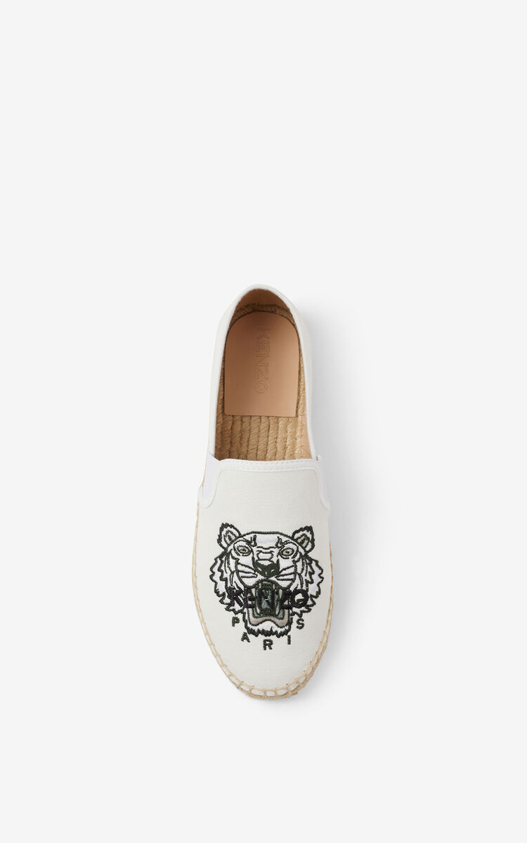 OFF WHITE Tiger elasticated canvas espadrilles for unisex KENZO