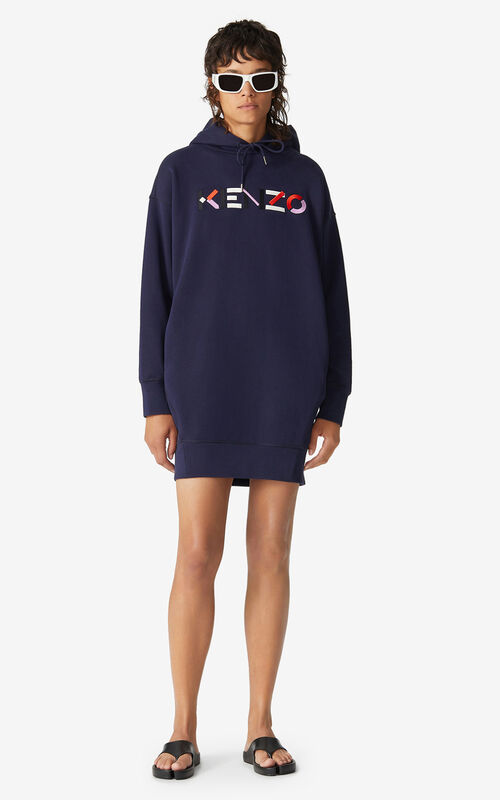 NAVY BLUE KENZO Logo hooded sweatshirt dress for men