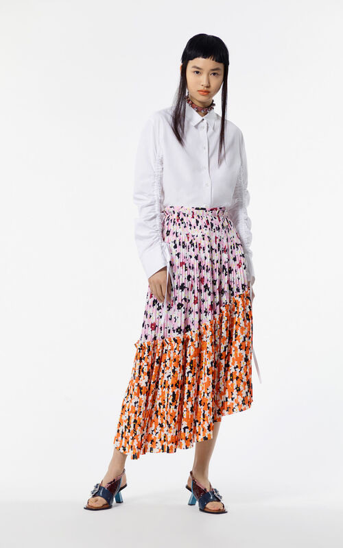 FLAMINGO PINK Asymetrical 'Jackie Flowers' skirt for women KENZO