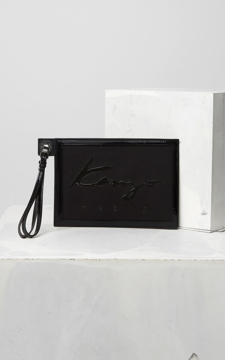 BLACK KENZO Signature A5 pouch for women