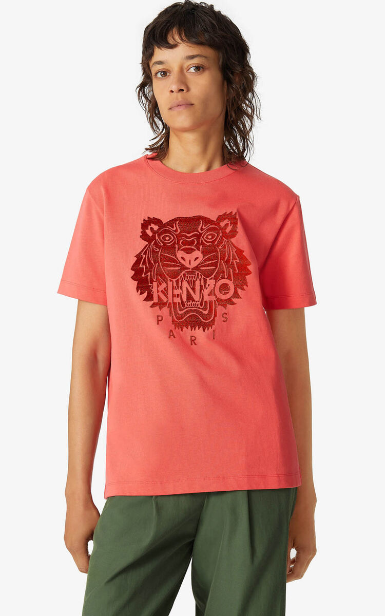 RED ORANGE Loose Tiger t-shirt for women KENZO