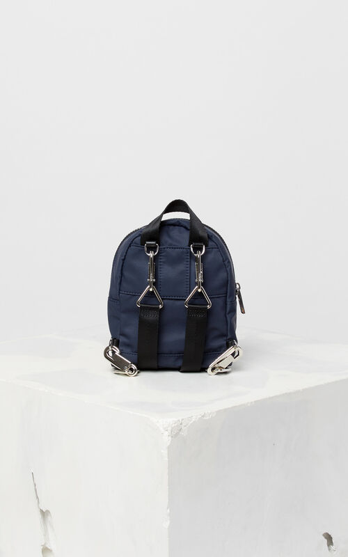 NAVY BLUE KENZO Logo mini backpack for unisex
