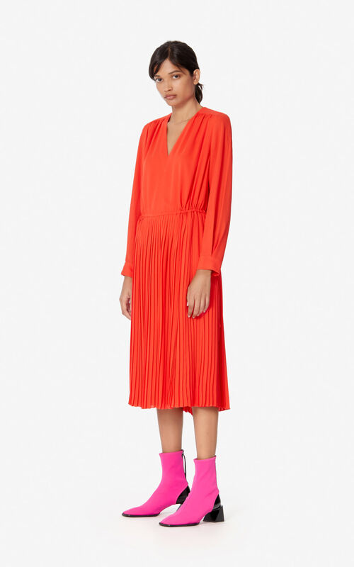 CORAL Long pleated dress for women KENZO