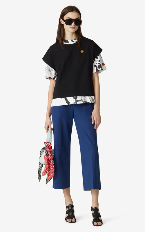 BLACK Tiger Crest boxy T-shirt    for women KENZO