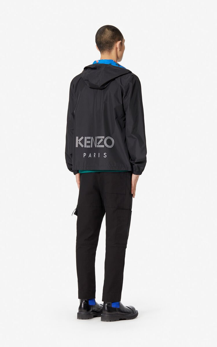 BLACK Reversible KENZO logo wind stopper for men
