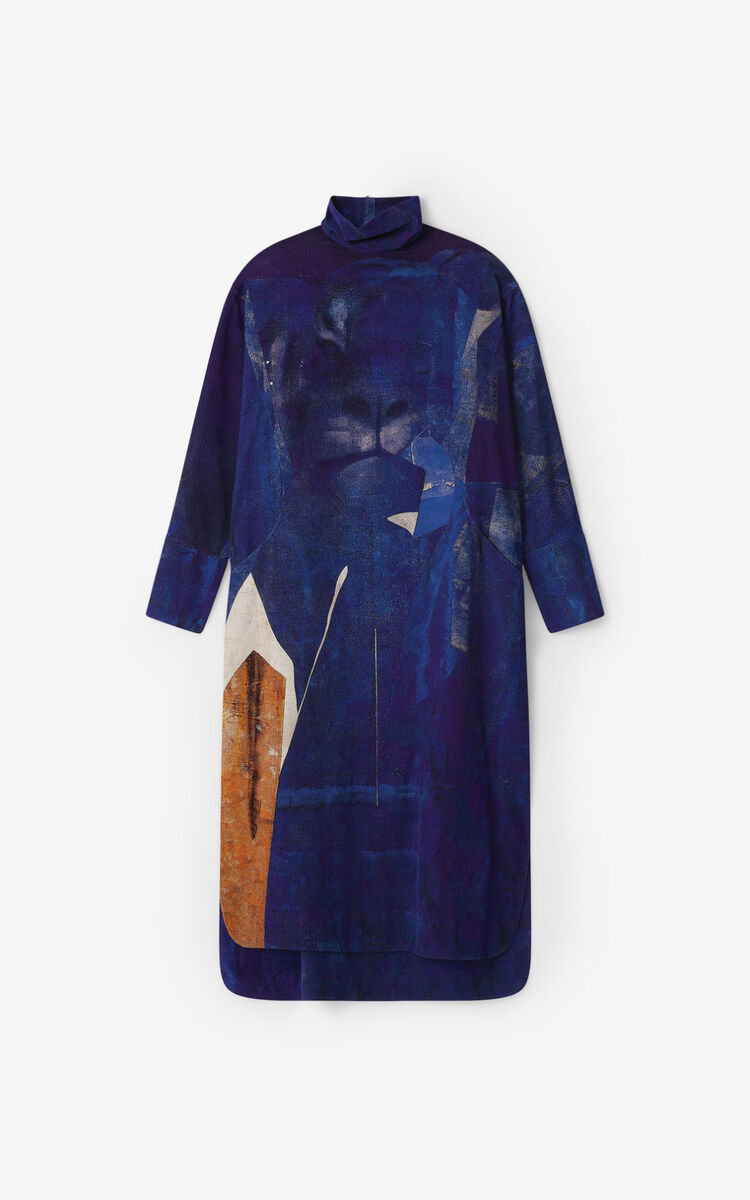 ROYAL BLUE Dress with Júlio Pomar illustration for women KENZO