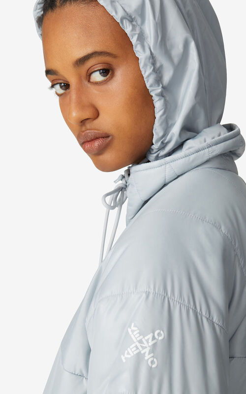 PALE GREY KENZO Sport lightweight puffer jacket for women
