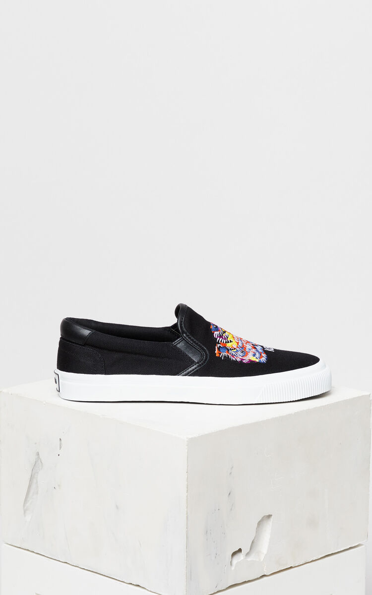 BLACK 'Tiger Head' Slip-on Trainers 'Go Tigers Capsule' for women KENZO