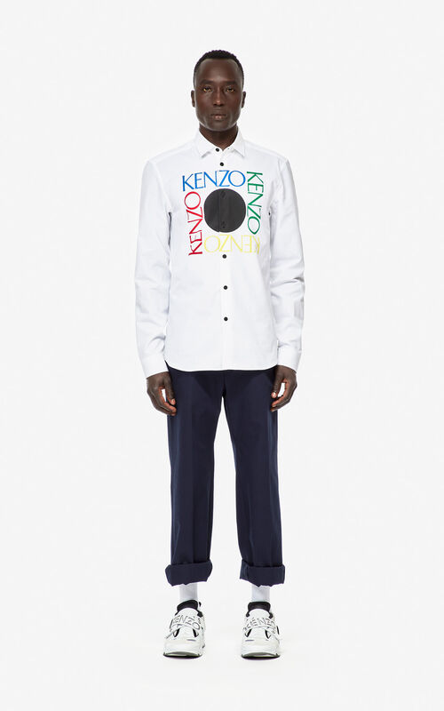 WHITE 'Square Logo' slim-fit shirt for men KENZO