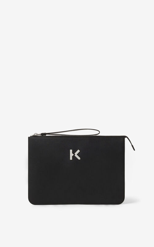 BLACK KENZO K leather clutch for unisex