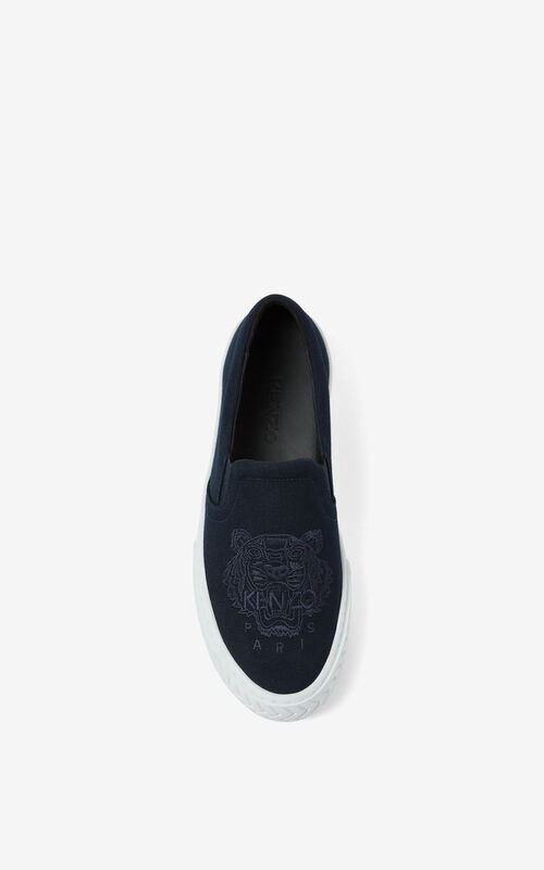 NAVY BLUE Canvas slip-on K-Skate Tiger trainers for women KENZO