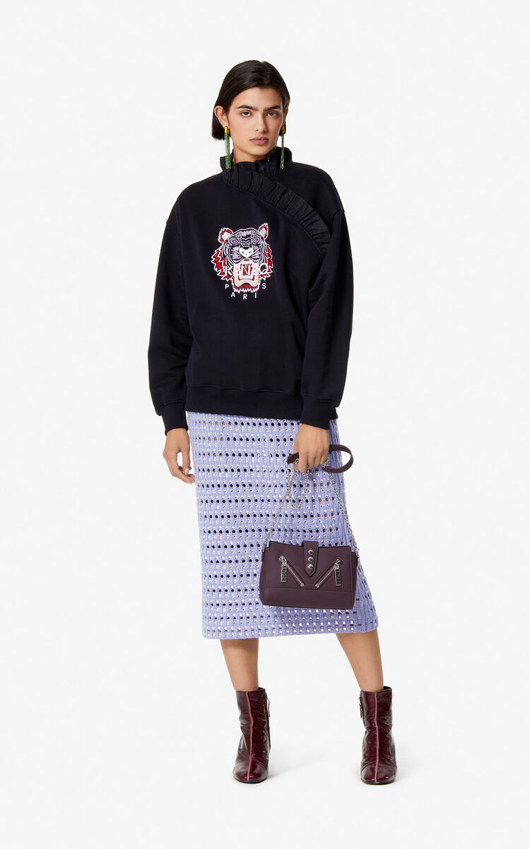 BLACK Frilled Tiger sweatshirt for women KENZO