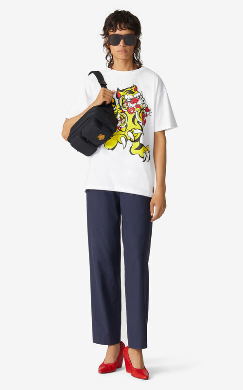 WHITE KENZO x KANSAIYAMAMOTO 'Three Tigers' loose-fitting T-shirt for men