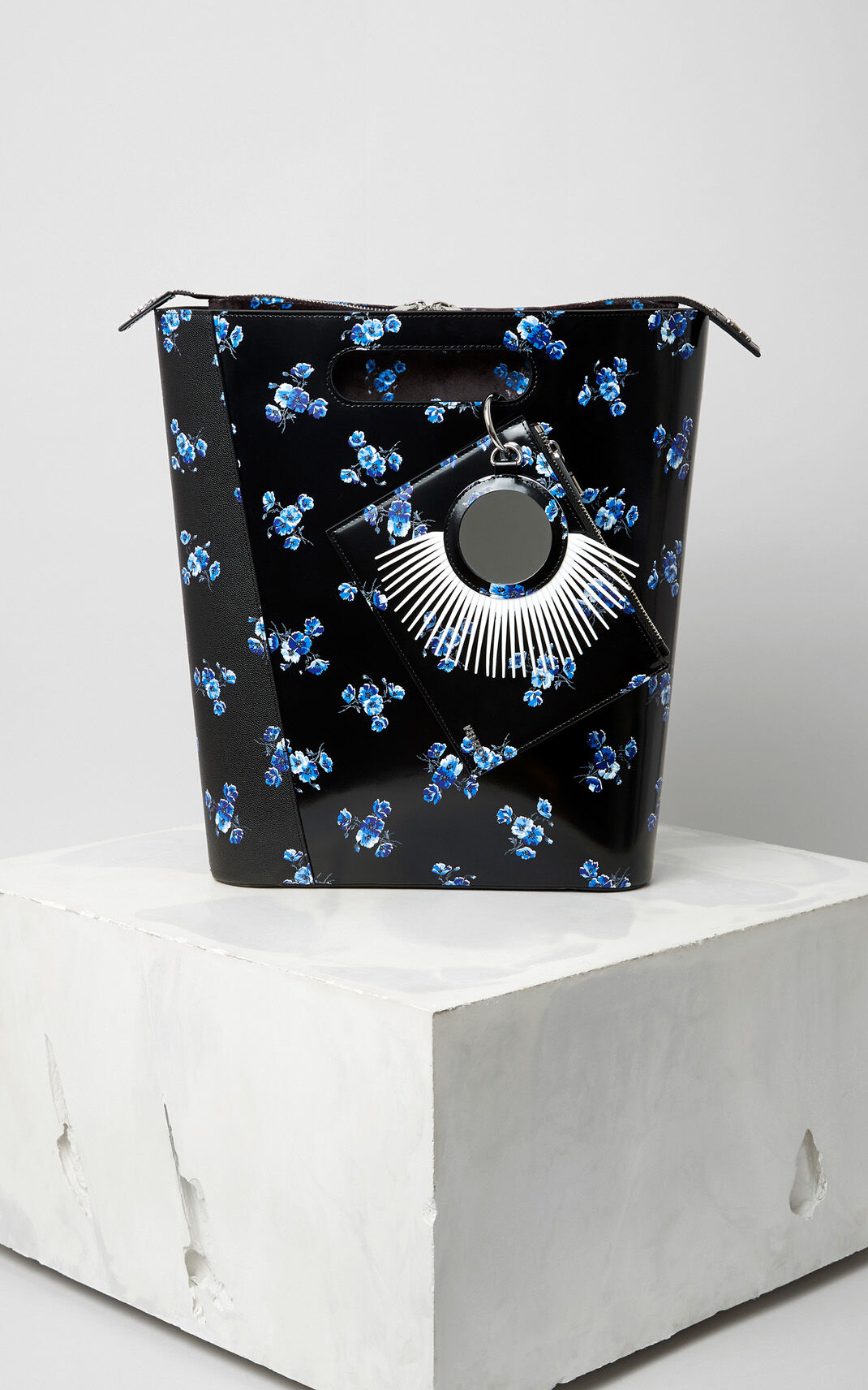 BLACK Large ''May flowers' Stiff Tote Bag for unisex KENZO