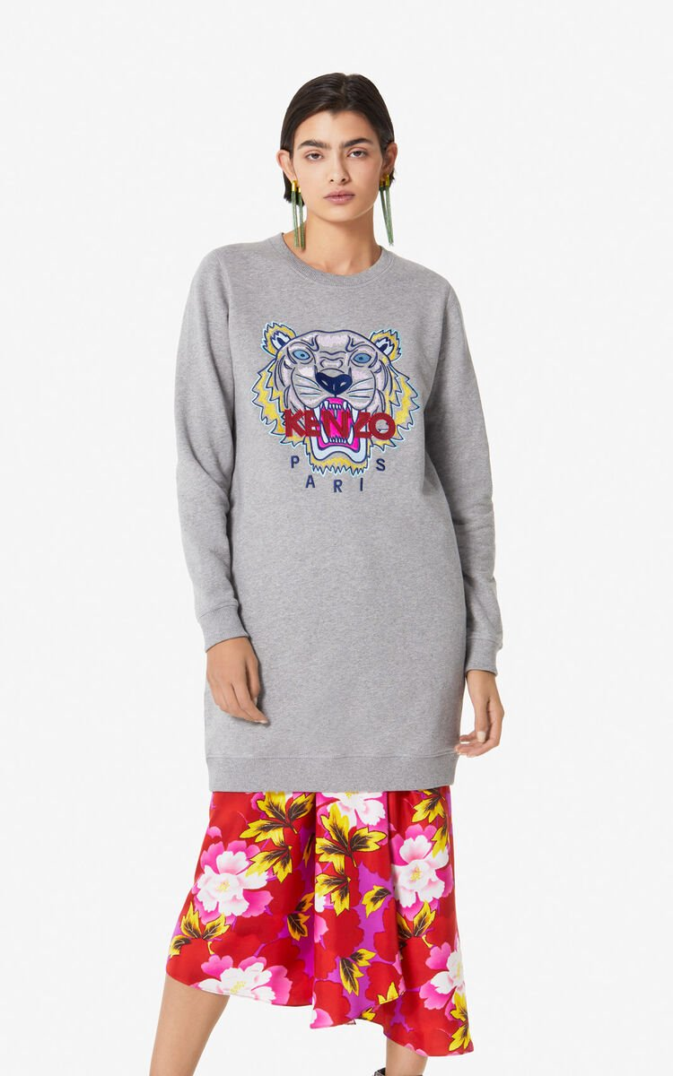 DOVE GREY Tiger sweatshirt dress for women KENZO