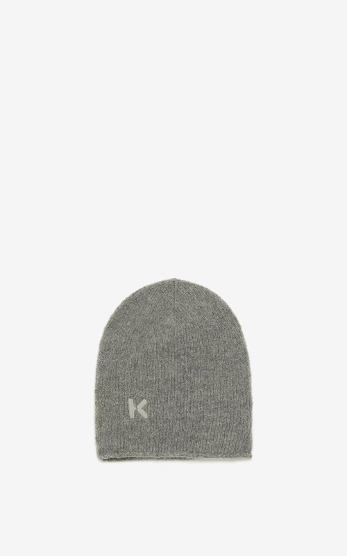 DOVE GREY K Logo wool and cashmere beanie for men KENZO