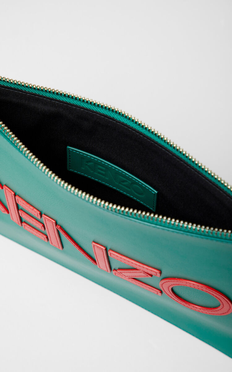 BOTTLE GREEN KENZO colorblock clutch for unisex