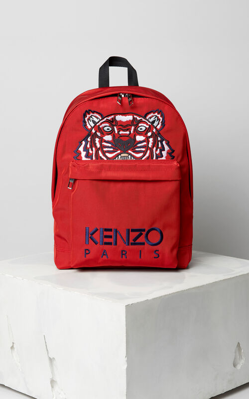 MEDIUM RED Large Tiger Canvas backpack for men KENZO