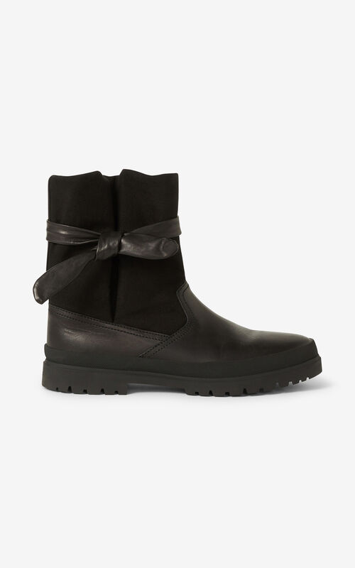 BLACK KENZO Safari Obi ankle boots for women