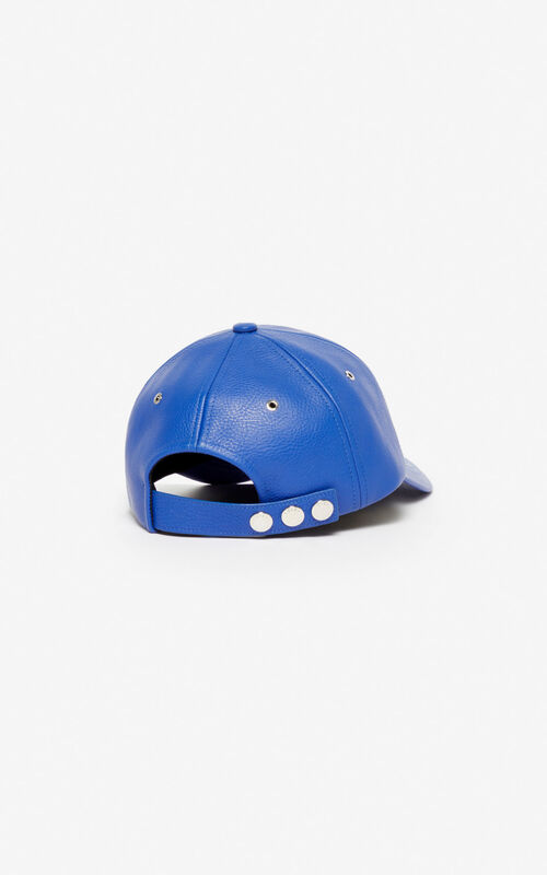 SLATE BLUE Leather cap 'Tiger Mountain' for unisex KENZO