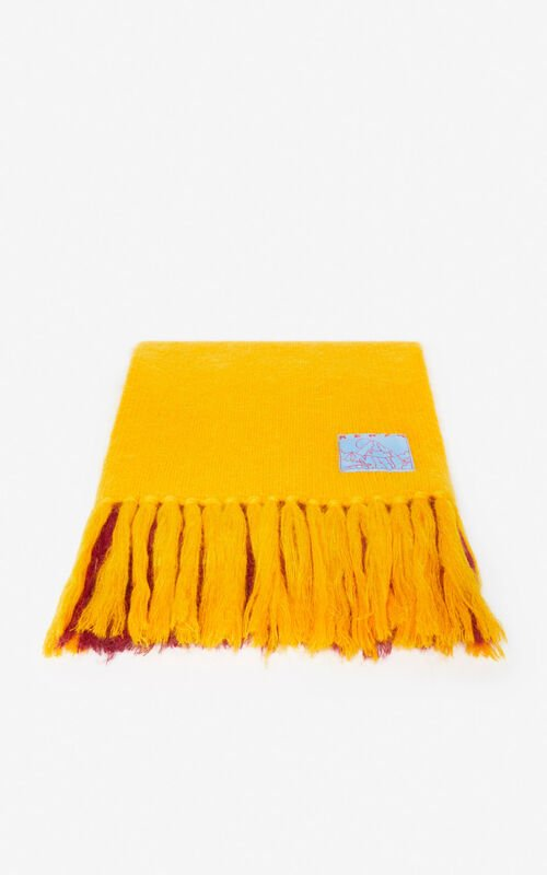 MULTICOLOR Fringed colour-block scarf  for unisex KENZO