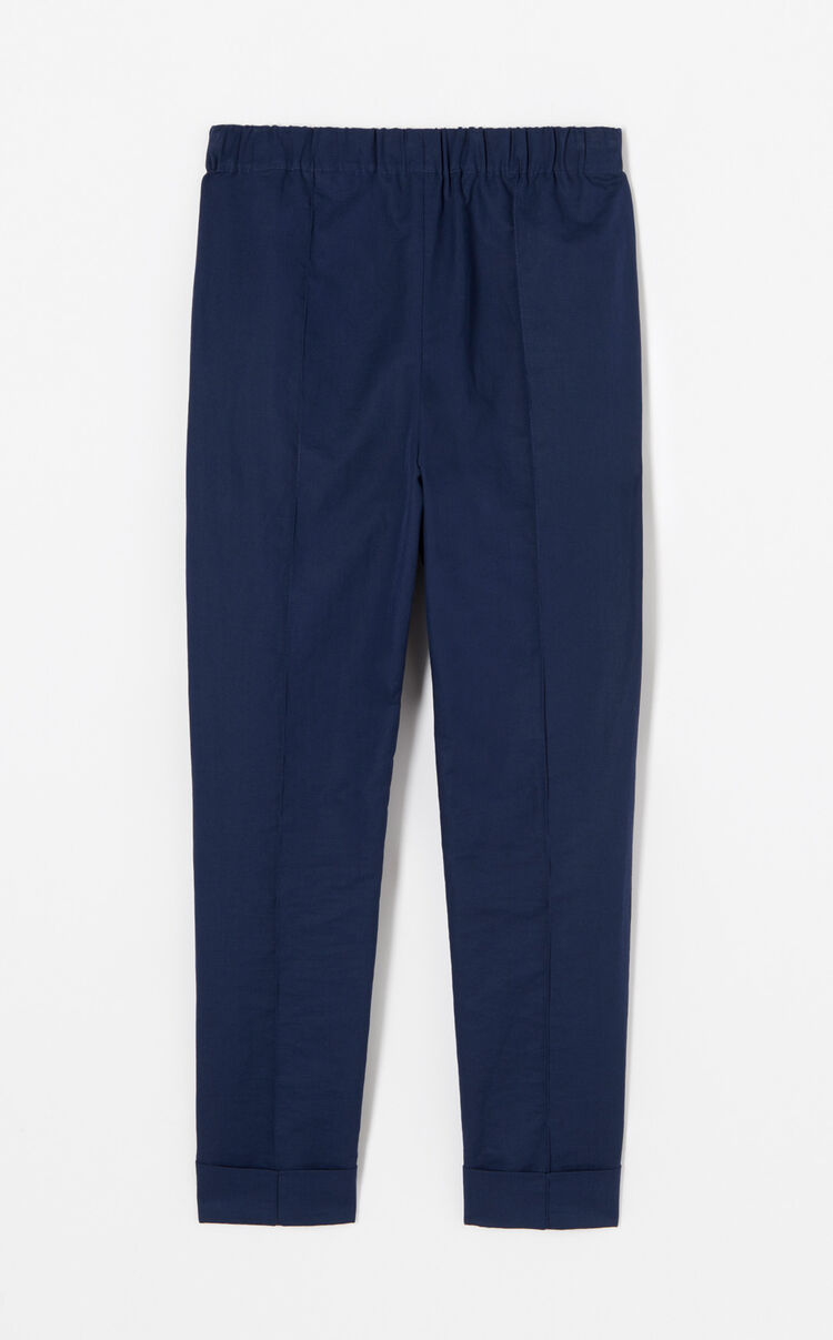 NAVY BLUE Crepe turn-up trousers for women KENZO