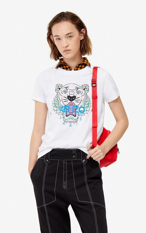 18961065245 WHITE Tiger t-shirt for women KENZO ...