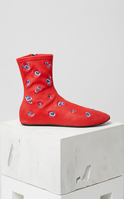 MEDIUM RED 'May Flowers' Embroidered Boots for women KENZO