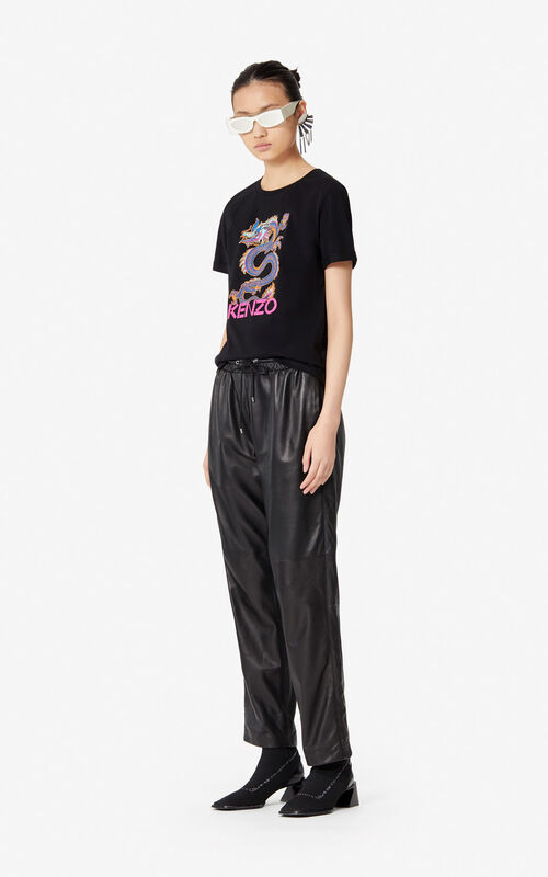 BLACK Leather joggers for women KENZO