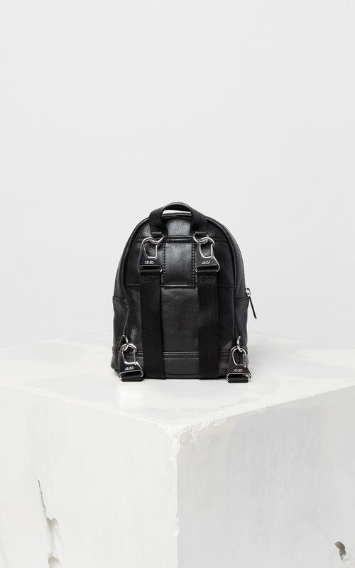 BLACK Tiger mini leather backpack for unisex KENZO