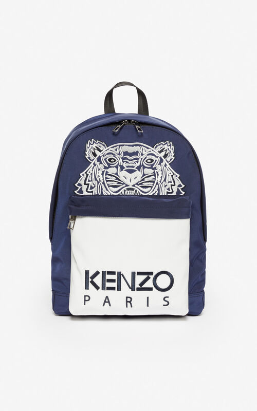 f16019bc067 MIDNIGHT BLUE Large 'Colorblock Tiger' backpack for unisex KENZO ...