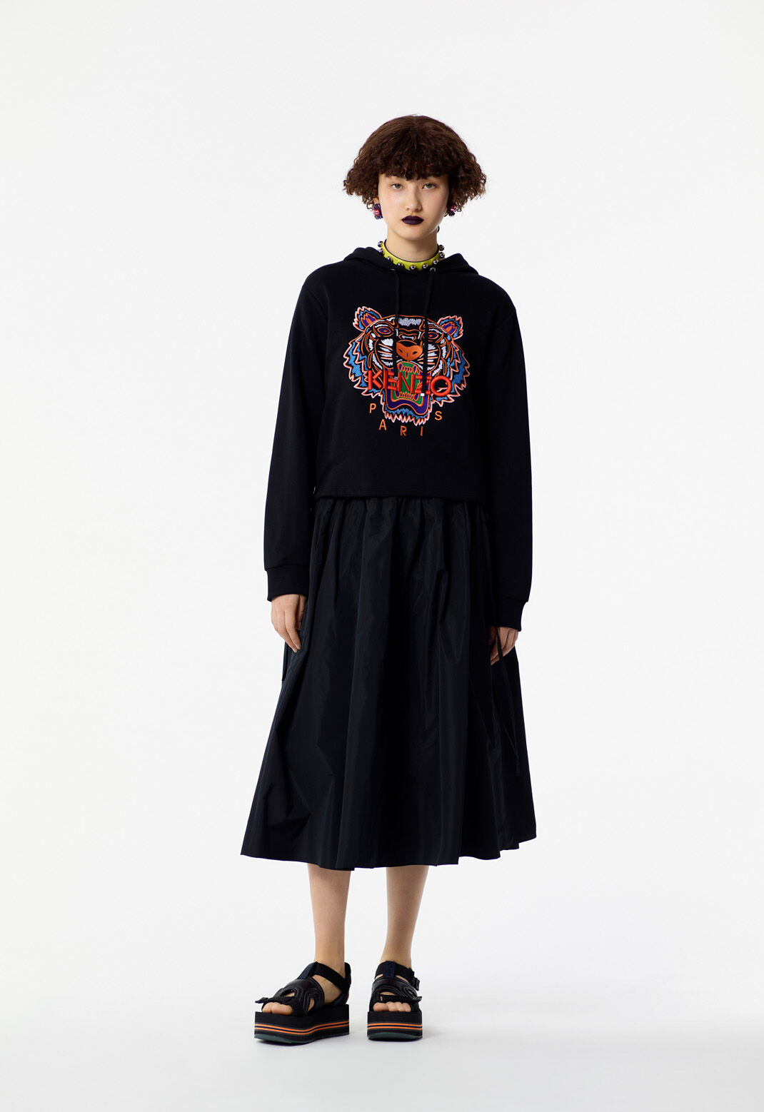BLACK Tiger hooded sweatshirt for women KENZO