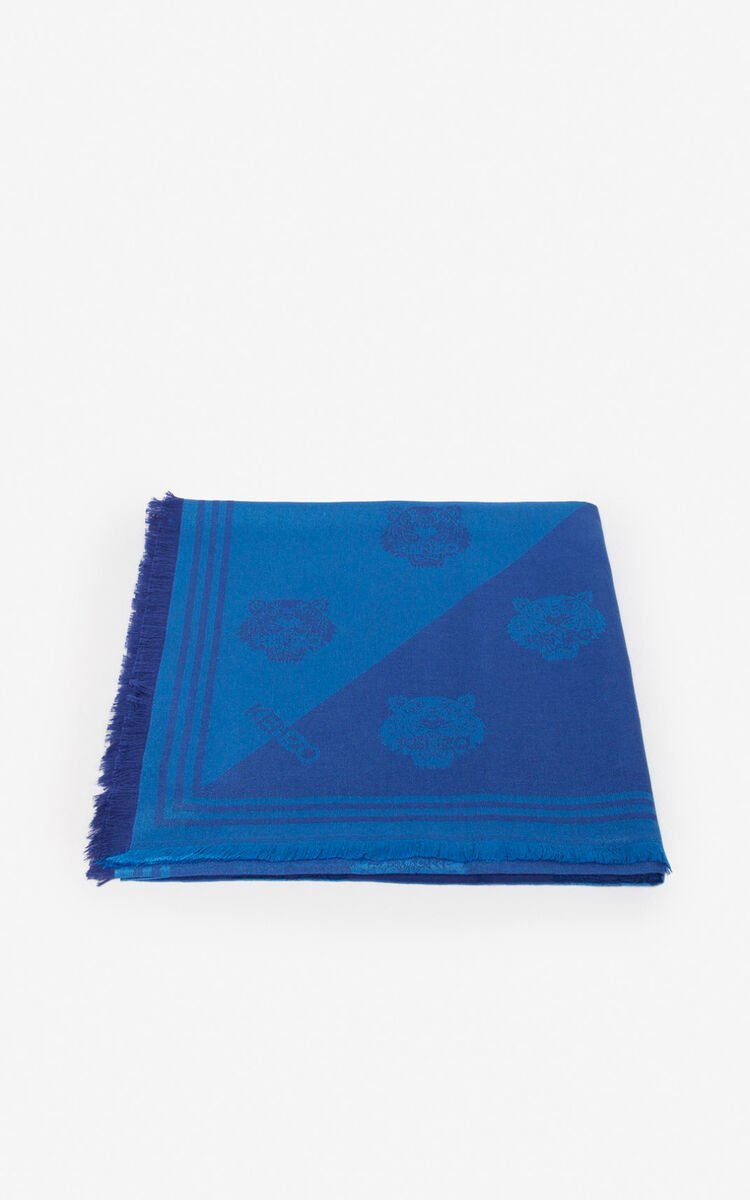 SLATE BLUE Large two-tone Tiger scarf for unisex KENZO