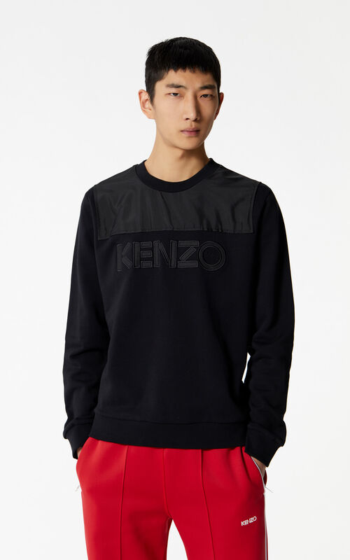 BLACK Dual-fabric KENZO sweatshirt for men