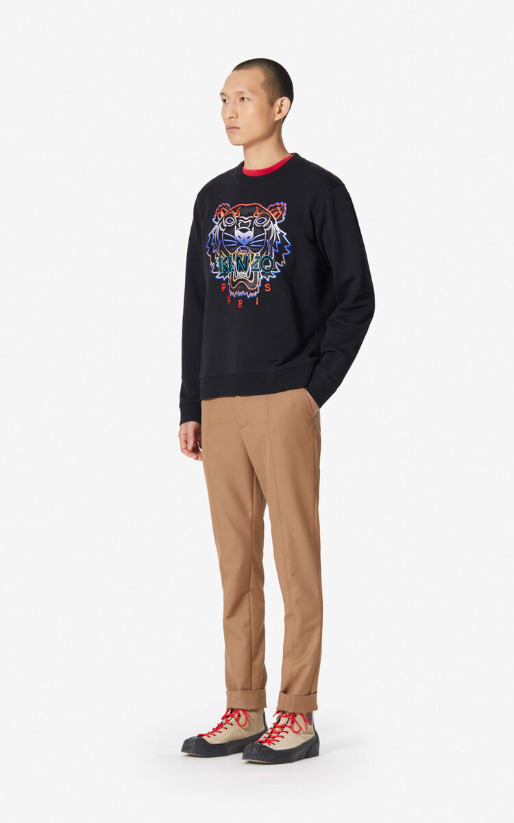 BLACK Gradient Tiger sweatshirt for men KENZO