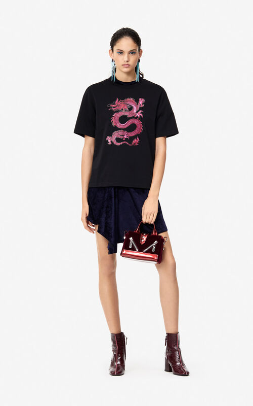 BLACK Dragon T-shirt 'Holiday Capsule' for women KENZO