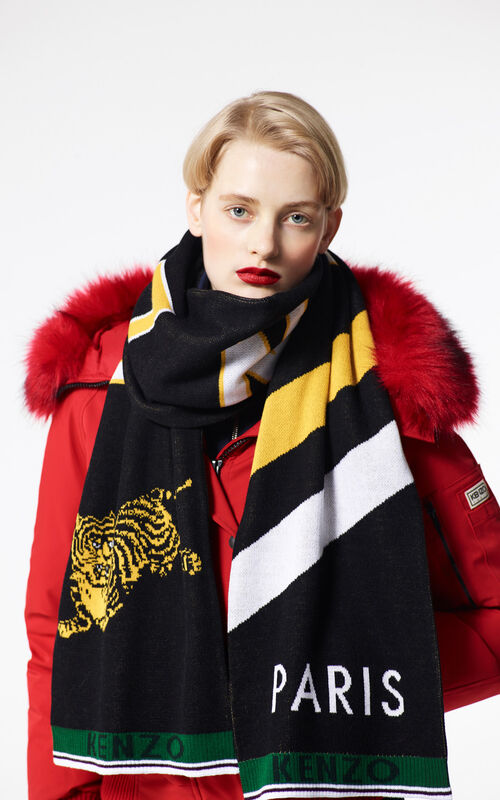 BLACK 'Jumping Tiger' sporty cotton scarf for women KENZO