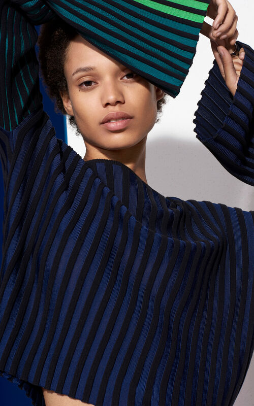 Bi-Color Ribbed Top, MIDNIGHT BLUE, KENZO