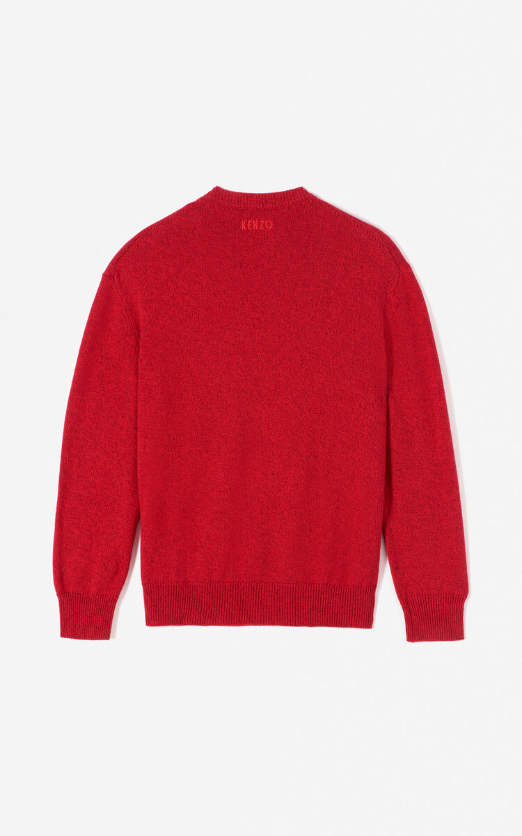 MEDIUM RED Leopard jumper for men KENZO