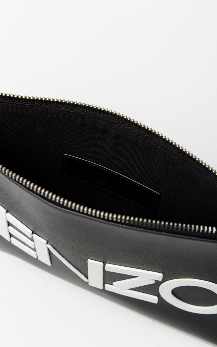 BLACK A4 KENZO Colorblock leather clutch for unisex