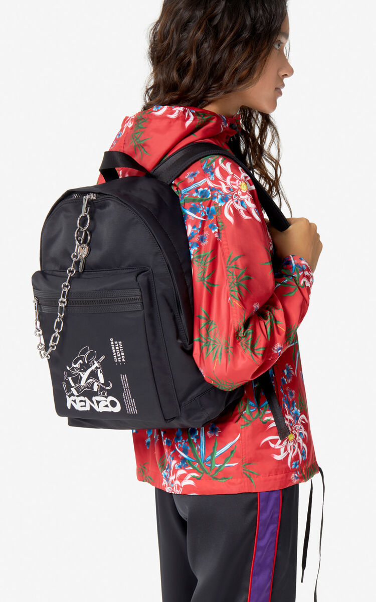 BLACK Large 'Kung Fu Rat' backpack for men KENZO