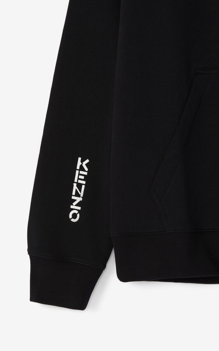 BLACK 'KENZO Ox' hooded oversize sweatshirt. for men