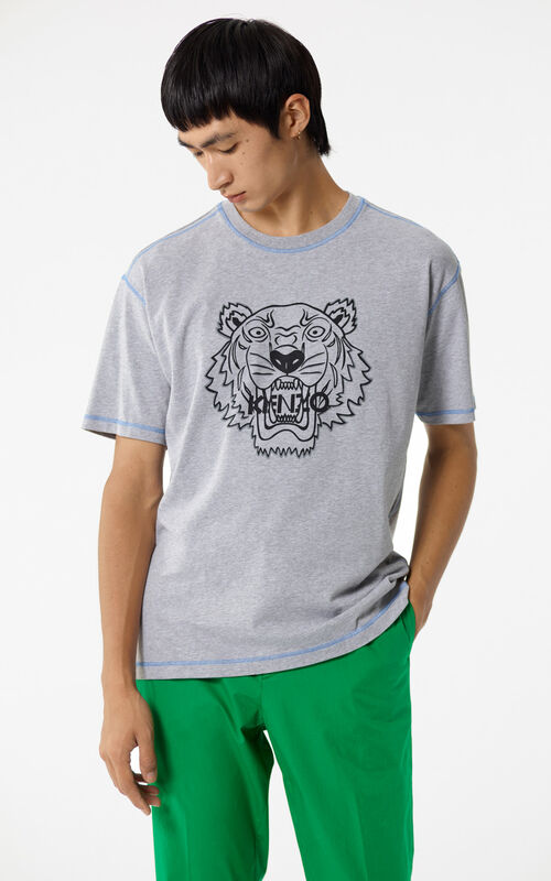 DOVE GREY Tiger T-shirt with topstitching for men KENZO