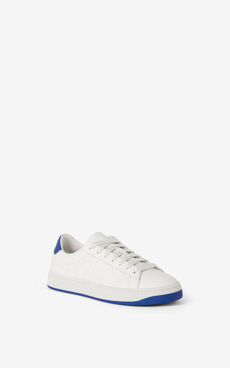 ROYAL BLUE KENZO Kourt K Logo leather sneakers    for unisex