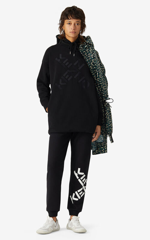 BLACK KENZO Sport 'Big X' sweatshirt dress for women